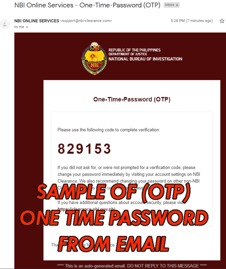 SAMPLE OF OTP ONE TIME PASSWORD FROM EMAIL nbi clearance online NBI CLEARANCE ONLINE APPLICATION FOR 2020 SAMPLE OF OTP ONE TIME PASSWORD FROM EMAIL