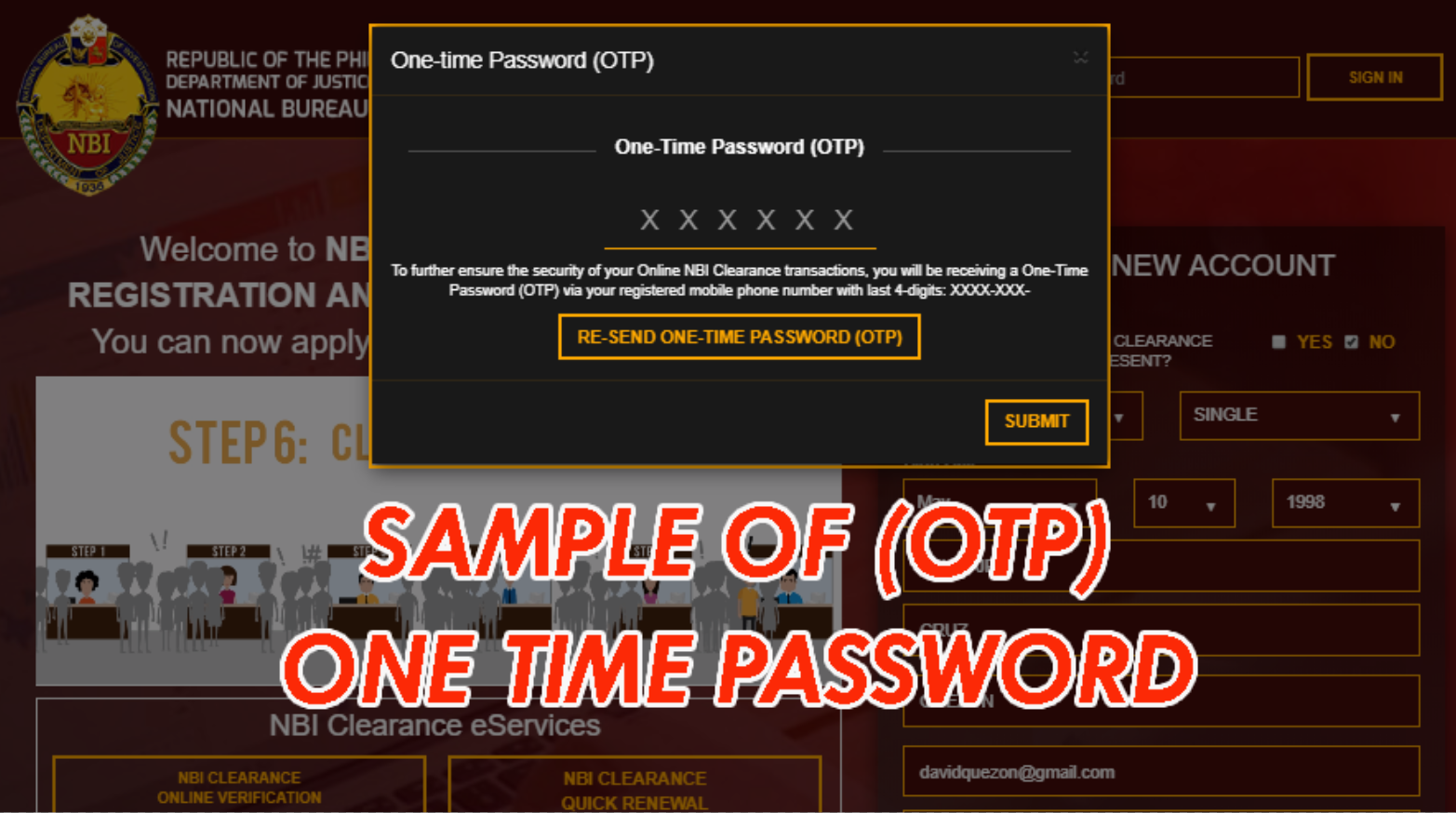 OTP FOR NBI CLEARANCE ONLINE APPLICATION FOR 2020 nbi clearance online NBI CLEARANCE ONLINE APPLICATION FOR 2020 SAMPLE OF OTP ONE TIME PASSWORD