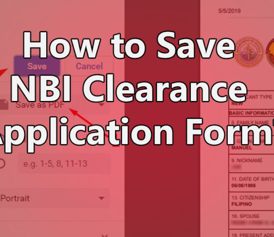 SAVE YOUR NBI CLEARANCE ONLINE APPLICATION FORM