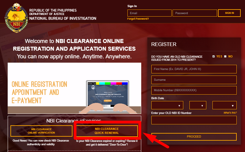 NBI RENEWAL ONLINE HOMEPAGE nbi renewal NBI RENEWAL ONLINE APPLICATION STEP BY STEP GUIDE NBI RENEWAL ONLINE HOMEPAGE