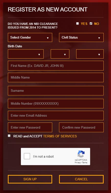 Register as New Account - NBI Online Registration nbi online registration NBI ONLINE REGISTRATION | NBI CLEARANCE Register as New Account NBI Online Registration