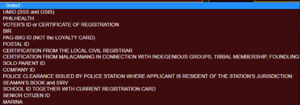 Valid IDs - NBI Online Registration nbi online registration NBI ONLINE REGISTRATION | NBI CLEARANCE Valid IDs NBI Online Registration 1024x359