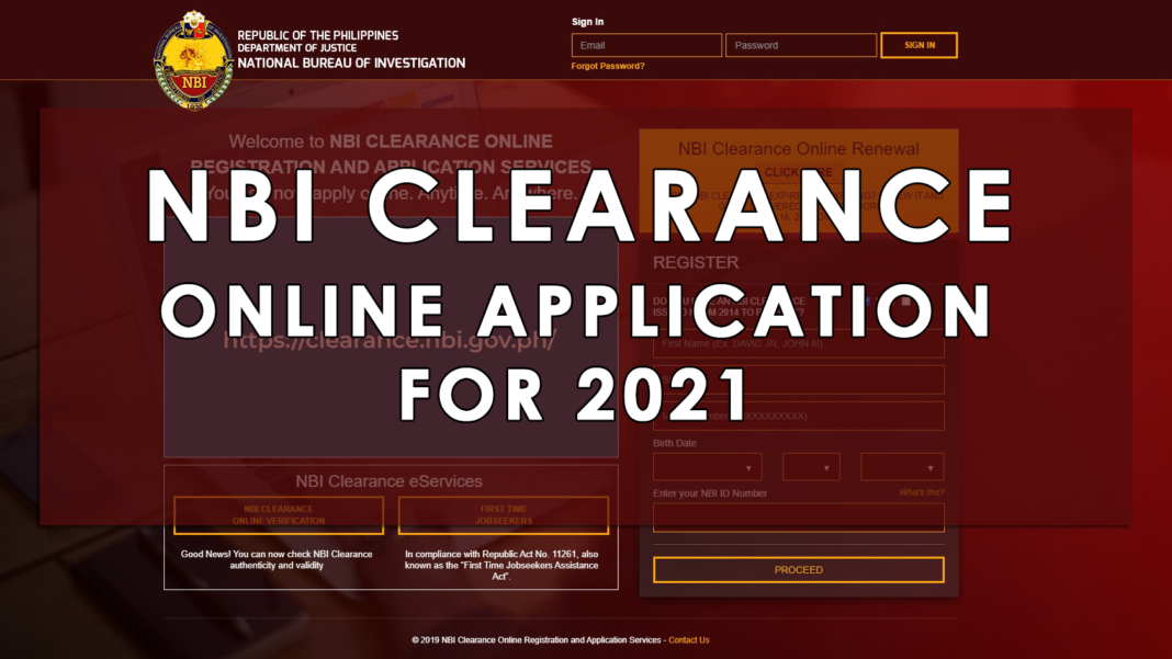 NBI CLEARANCE ONLINE APPLICATION FOR 2021